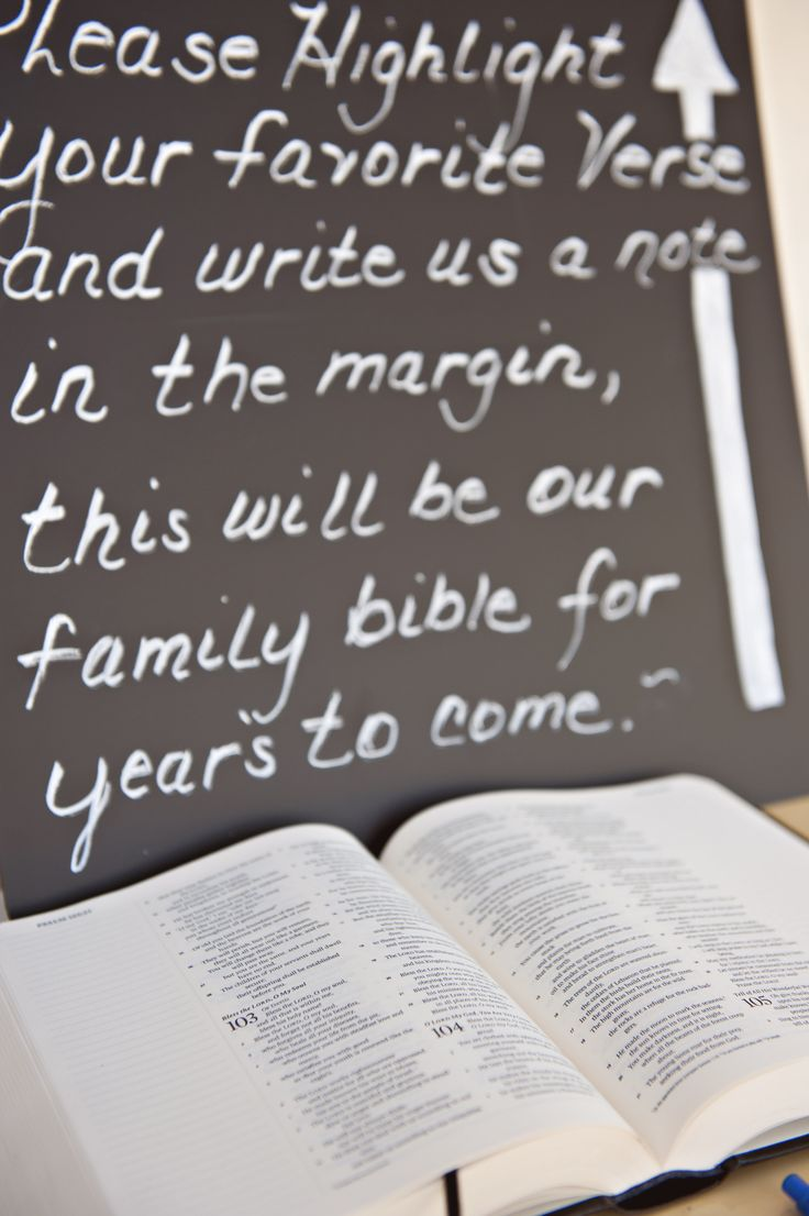 Bible Guestbook-  BFF did this at her wedding & then had the pastor write their wedding in as the first entry in their family Bible.