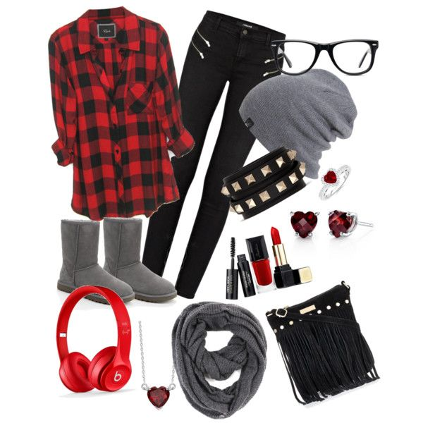 A fashion look from February 2015 featuring J Brand jeans, UGG Australia ankle booties and Valentino bracelets. Browse and shop related looks.