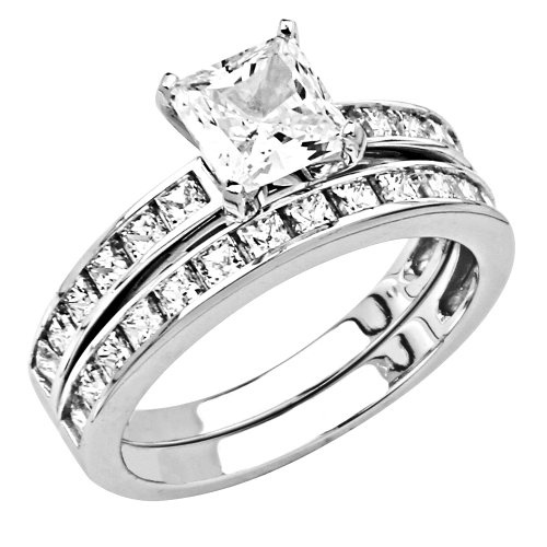 rhodium plated sterling silver ct center princess cut cz cubic zirconia ladies engagement ring and wedding band 2 two pieces set - 2 Piece Wedding Rings