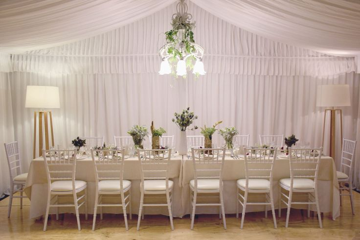 Table styling with floral centrepieces down table by Ede Events http://www.edeevents.com.au/party-hire/table-settings
