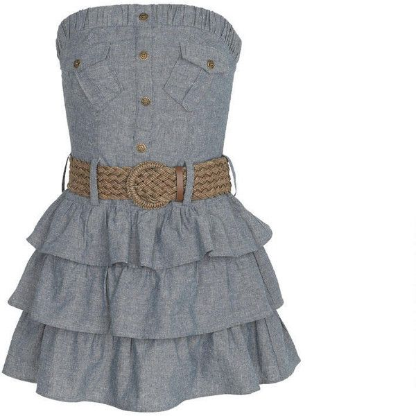 Denim Ruffle Dress ($9.99) ❤ liked on Polyvore featuring dresses, vestidos, short dresses, robe, short strapless dresses, smock dress, ruffle cocktail dress, strapless mini dress and strapless ruffle dress