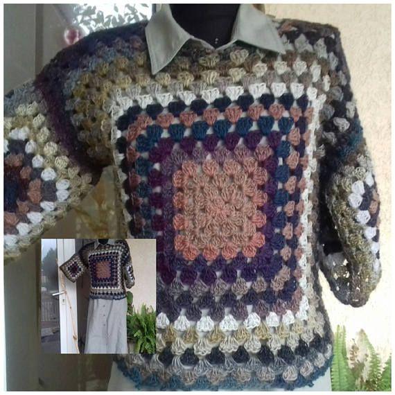 Blouse/Vest/Jerkin/Jacket Granny square /hand crocheted granny