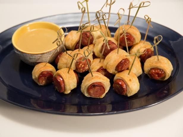 Get Pigs-in-a-Blanket with Honey-Mustard Dipping Sauce Recipe from Cooking Channel