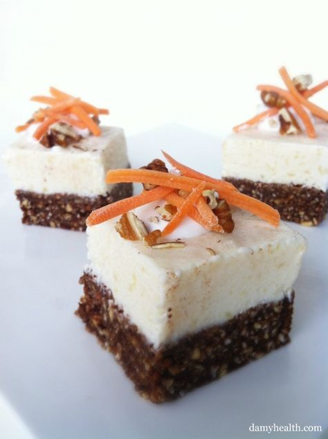 Skinny Carrot Cake Cheesecake Bites. This his recipe is skinny, gluten free, no-bake, 5 minute prep, and a whole lot of carrot cake yummyness. http://www.damyhealth.com/2012/02/skinny-carrot-cake-cheesecake-bites/