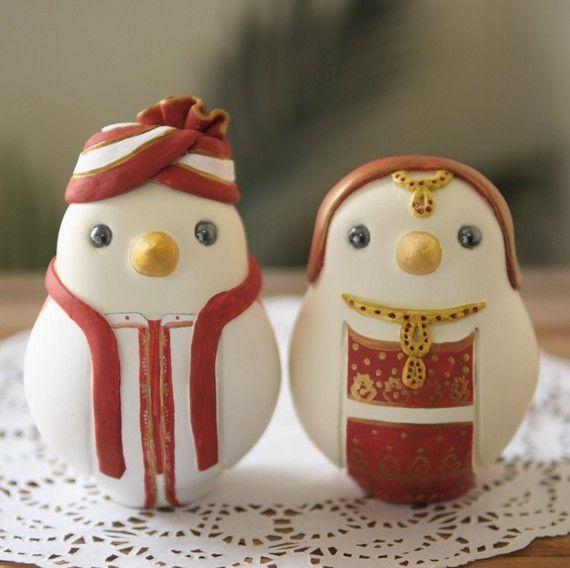 Custom Wedding Cake Topper - Large Hand Painted Love Birds in Indian Wedding Dress - haha so cute