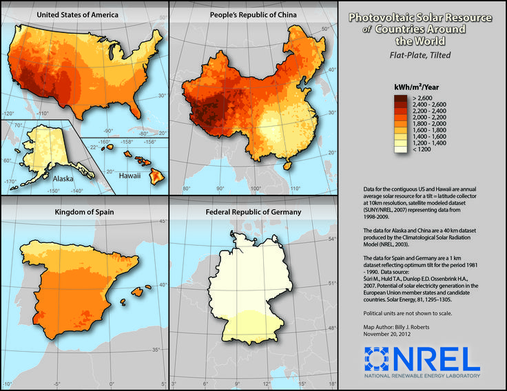 Solar Power Potential USA China Spain And Germany By NREL - Solar power map us