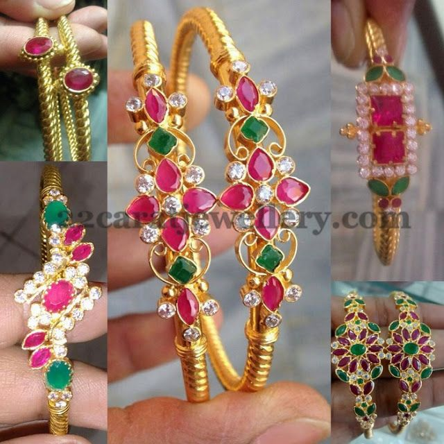 Jewellery Designs: Colorful Gold Bangles
