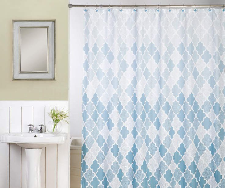 Ornament Blue U0026 White Shower Curtain U0026 Hooks Set At Big Lots.