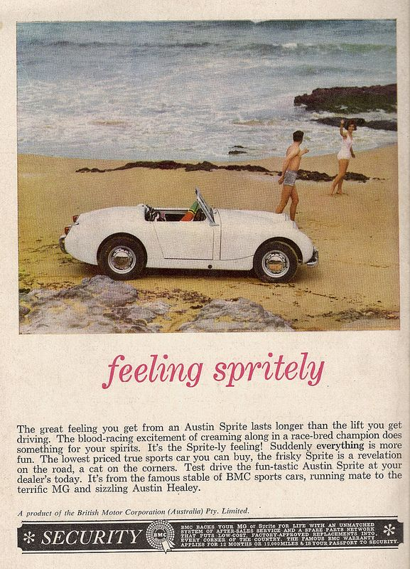 """The car that made me realise that someone designed cars"" KB Austin-Healey Sprite Advertisment 