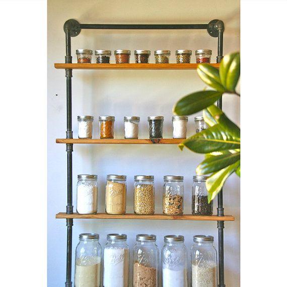 Urban Ladder Kitchen Shelf: Industrial Reclaimed Wood Ladder Shelving By