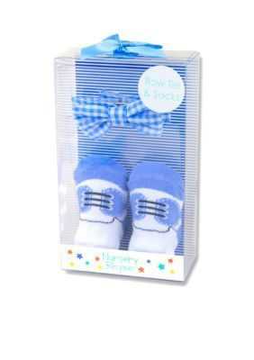 Nursery Rhyme  Pre-Tied Blue Gingham Bow Tie and Sock Boxed Set