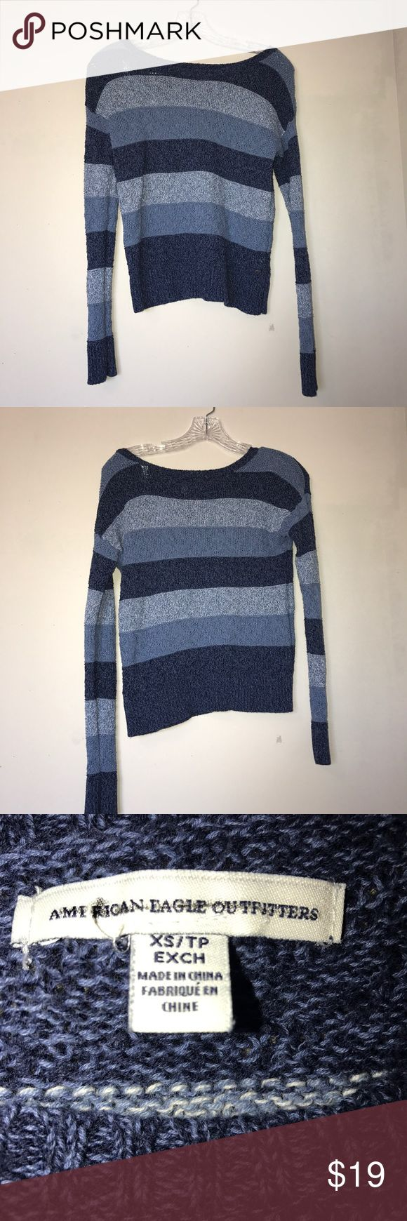 American Eagle Sweater Striped sweater with different shades of blue. Very cute, unfortunately doesn't fit me. Worn once for about an hour, practically new. American Eagle Outfitters Sweaters Crew & Scoop Necks