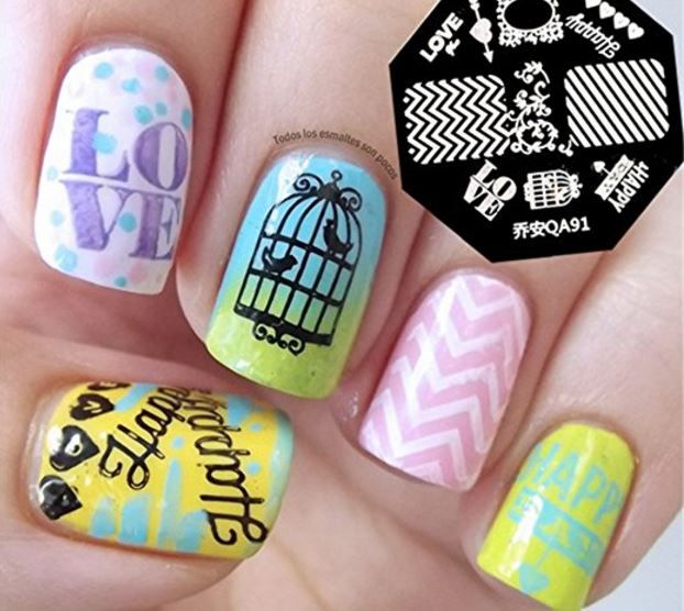 Pattern Stamps   Available here - NICOLE DIARY Nail Art Stamp Template Zebra Stripes Love Pattern QA91