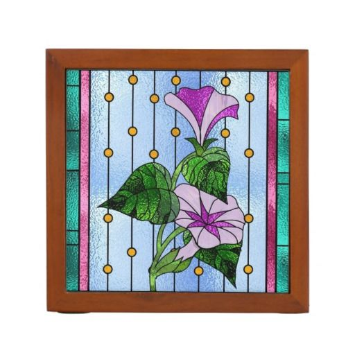 12 best images about stain glass faux on pinterest - Glass desk organizer ...