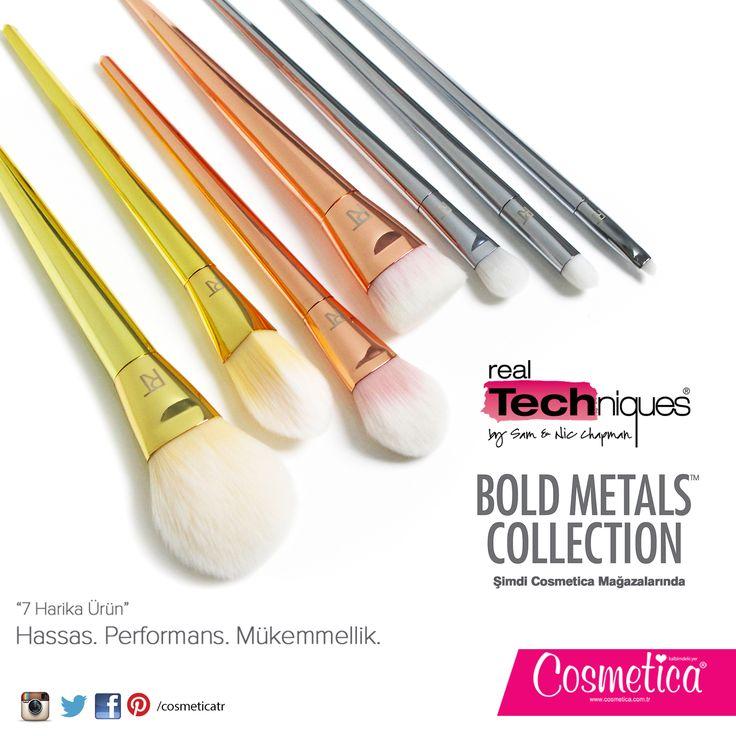 Cosmetica Türkiye Real Techniques' den yeni Bold Metal Fırça Serisi..! Yumuşak, bembeyaz fırçaları ve parlak gövdeleriyle Cosmetica'da bulabilirsiniz. Satın almak için: bit.ly/realtechbold