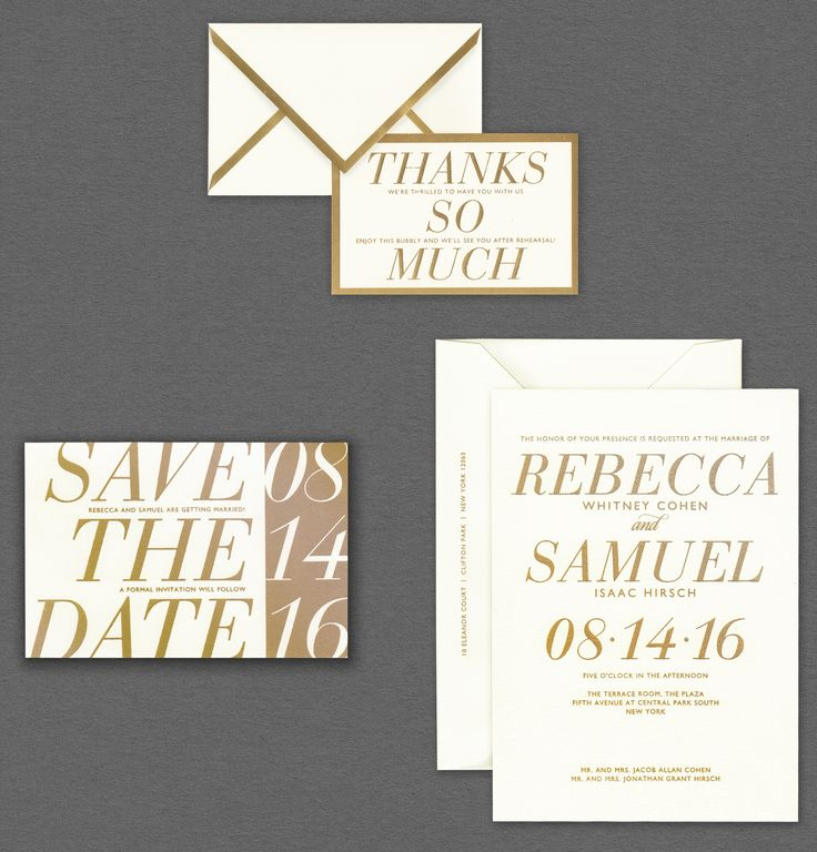 Vera Wang Gold Border Wedding Invitation Suite.Available At Honey Paper.com