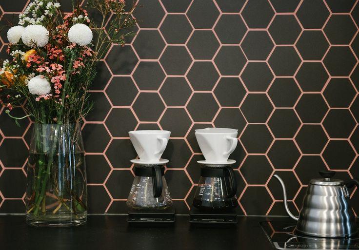 Altius Coffee Brewers   Melbourne CBD   Broadsheet Melbourne   Hexagonal Wallpaper, brown and pink