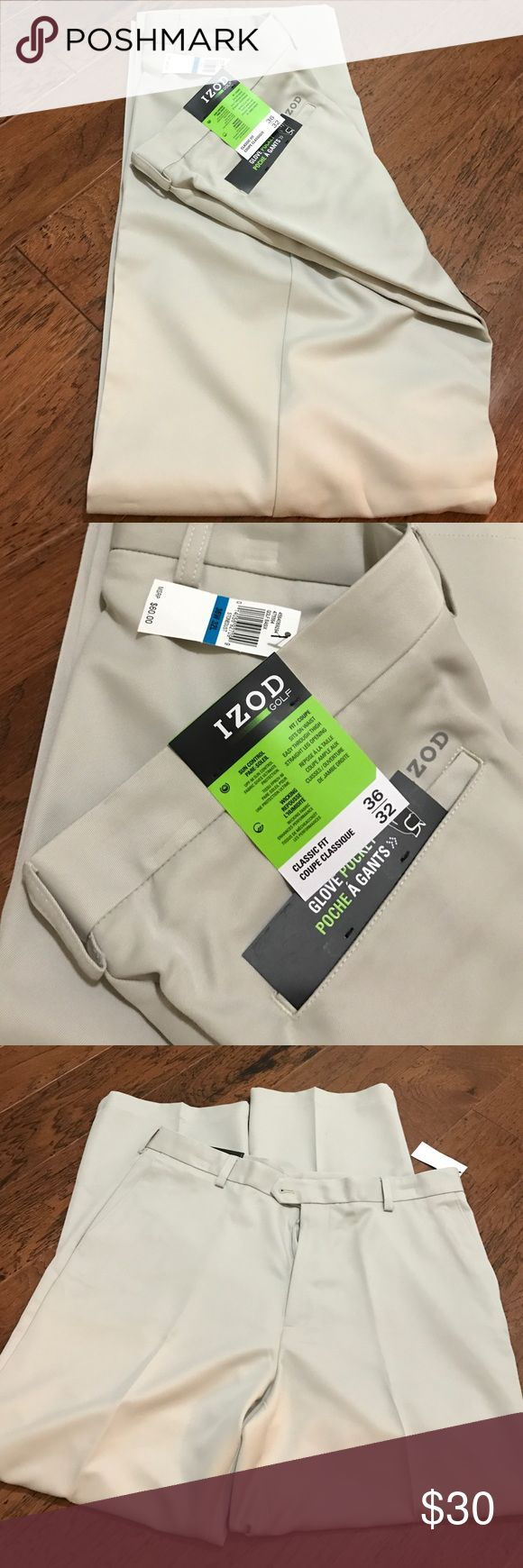 Men's IZOD golf pants Men's NWT light khaki colored classic fit golf pants. Pants feature glove pocket, straight legs, sun control, and moisture wicking fabric. Size 36/32. 100% polyester. 💲Reasonable offers accepted. Izod Pants Chinos & Khakis