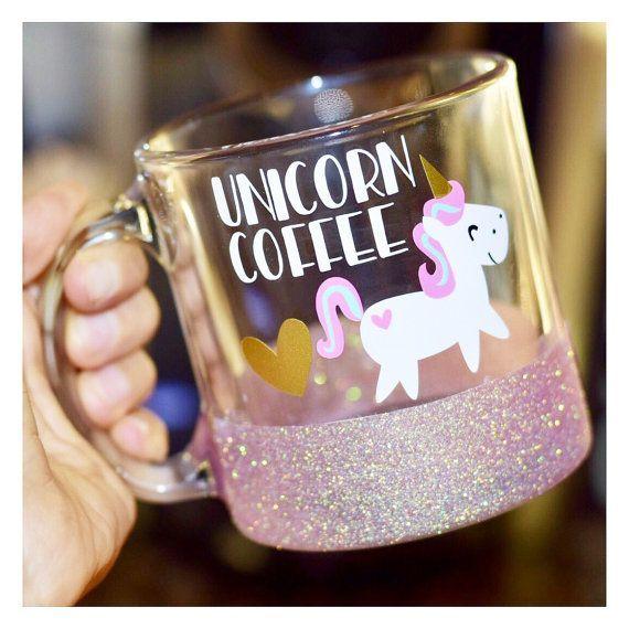 Einhorn Kaffee Glitter Mug / / Glas von TwinkleTwinkleLilJar