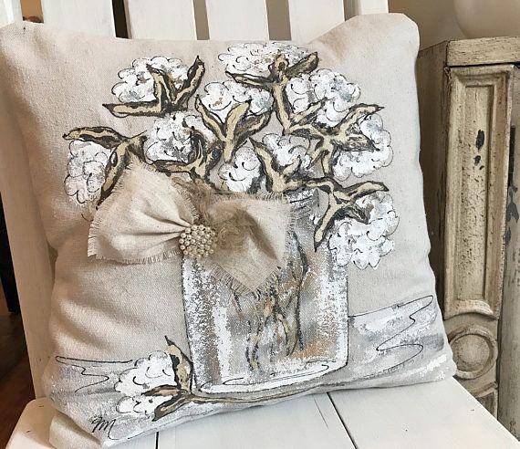 Cotton Bolls Pillow Farmhouse Bedding Mason Jar Pillow Cotton