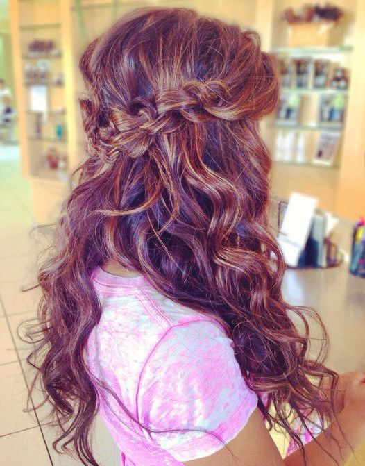 Wedding hair -- half up with braid/twists, long and voluminous curls/waves