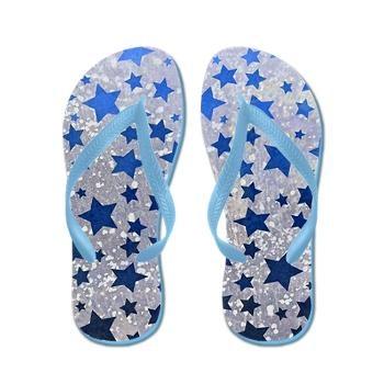 All Stars in blue flip flops