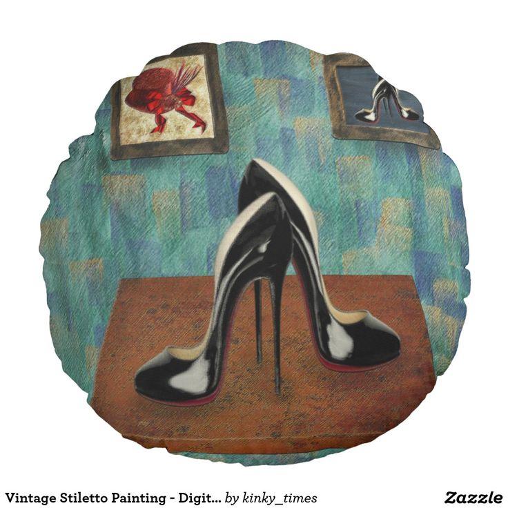 Vintage Stiletto Painting - Digital Art Round Pillow