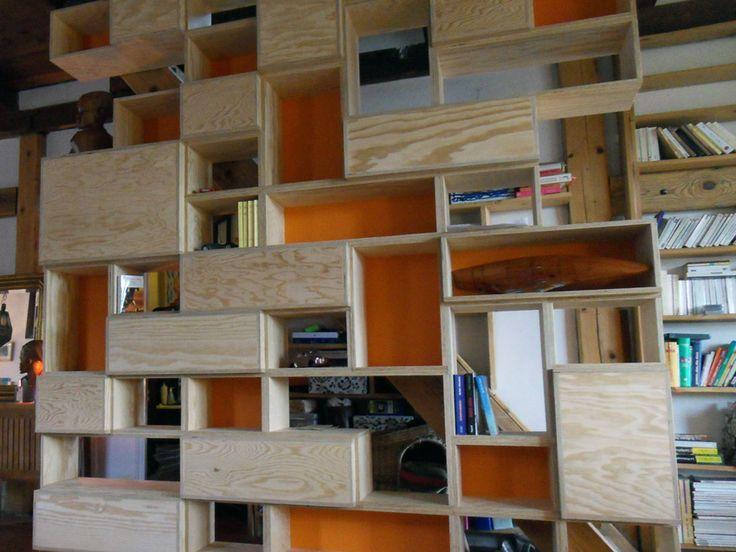 Biblioth que en contreplaqu pin opc am nagement for Meuble bibliotheque modulaire