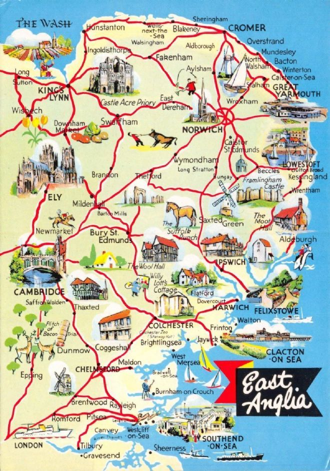 Map Of England Norfolk.Tourism Travel Uk England Map Postcard East Anglia By Etw Dennis