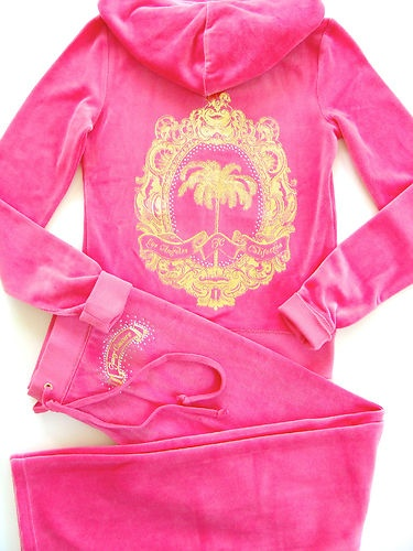 """Pink Juicy Tracksuit ♥ I Love these..so warm & Great to wear on the Beach♥ Juicy Couture Velour Iconic Palm Tracksuit Hoodie Pant Pink set Pink Juicy Tracksuit ♥"" // who needs to think in one of these ??? ♥"