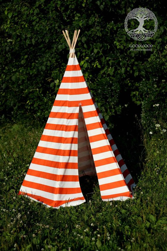 A popular choice for your children's bedroom or toy room for either play or as a comfortable reading nook.  The #teepee was handcrafted with utmost care and quality material... #woodcraft #woodwork #giftforhim #barware #homebrew #playtent #housewares #wigwam #orange #playroom #camping