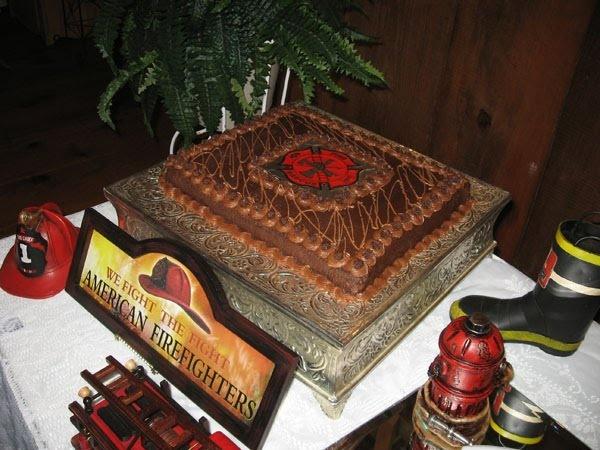 simple fireman grooms cake