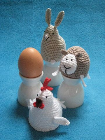 Egg cosy chicken bunny sheep easter spring crochet by Millionbells