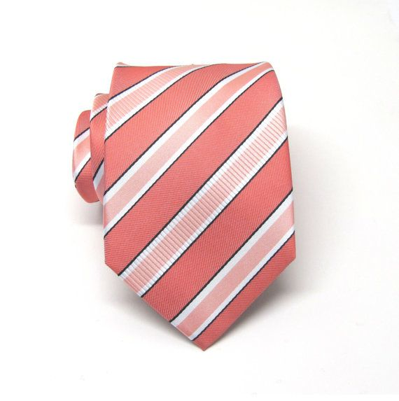 Coral Ties. Mens Ties Coral Peach White Stripes Necktie With Matching Pocket Square Option. Wedding ties./ FOR LEONARD