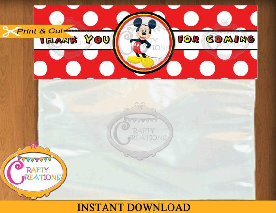 Mickey Mouse Birthday Treat Bag Topper -Candy Bag- Mickey Mouse Birthday Party Favor - Boy Birthday - Printable - Digital - Instant Download