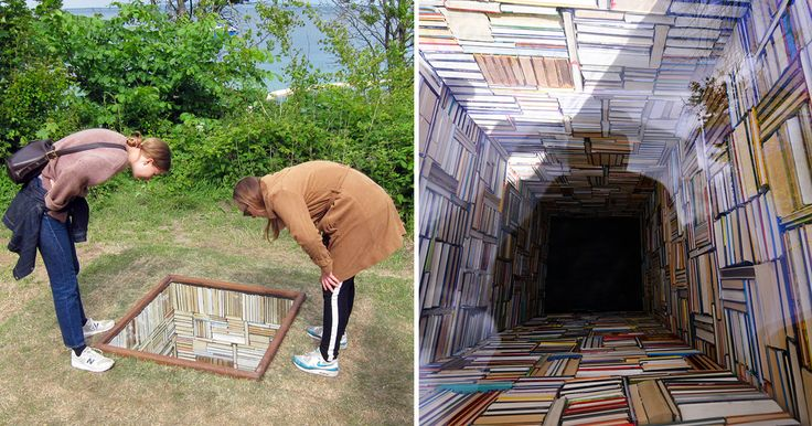 "Susanna Hesselberg, ""When My Father Died It Was Like a Whole Library Had Burned Down"" (2015) / Photo by Claire Voon for Hyperallergic    For her entry into the biannual Sculpture by the Sea in Aarhus, Denmark, Swedish artist Susanna Hesselberg installed this ominous library that plumments into the g"