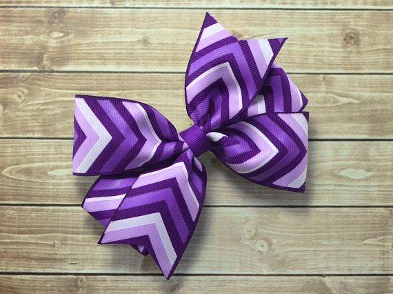 Purple Chevron Bow Purple Bow Purple Hair Bow Chevron Hair
