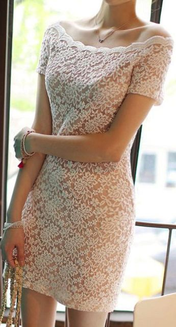 White lace dress. Rehearsal dinner dress