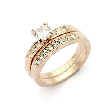 Дамски пръстен от 2 части с бели камъни CZ Циркон и карата жълто златно покритие