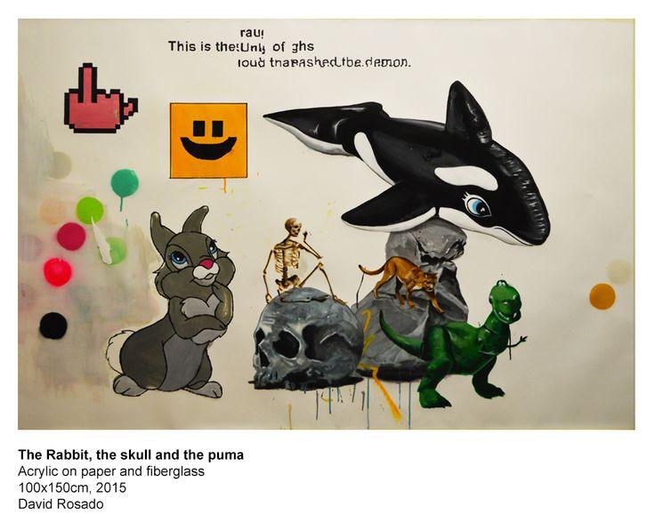 The Rabbit the skull and the Puma Acrylic on paper and fiberglass 100x150cm, 2015 David Rosado