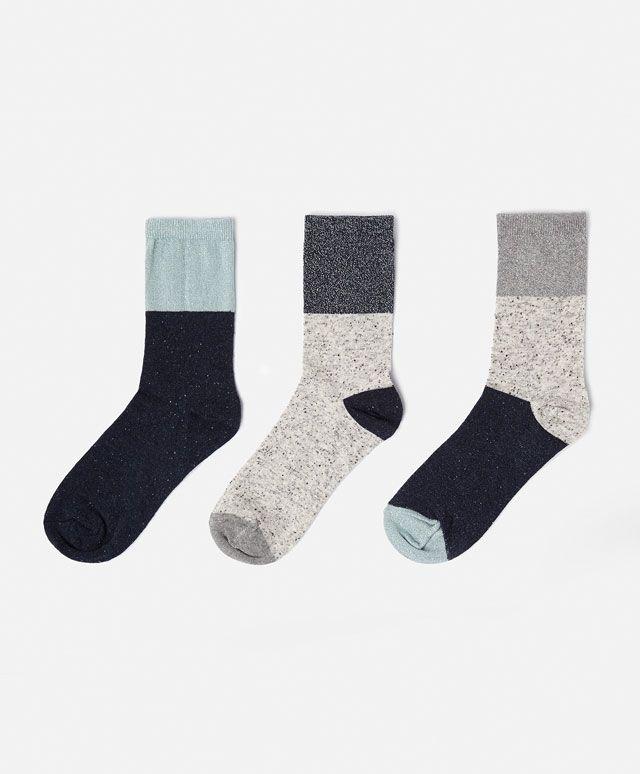 Lot de trois paires de chaussettes bleues - OYSHO