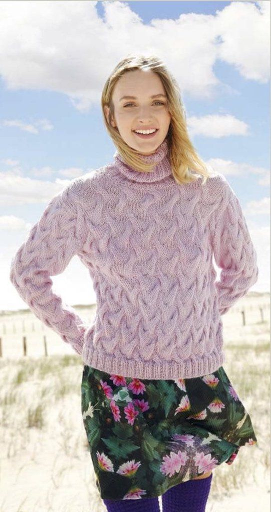 Sweater with wave pattern in ggh Masari - Rebecca Knit Kit – I Wool Knit