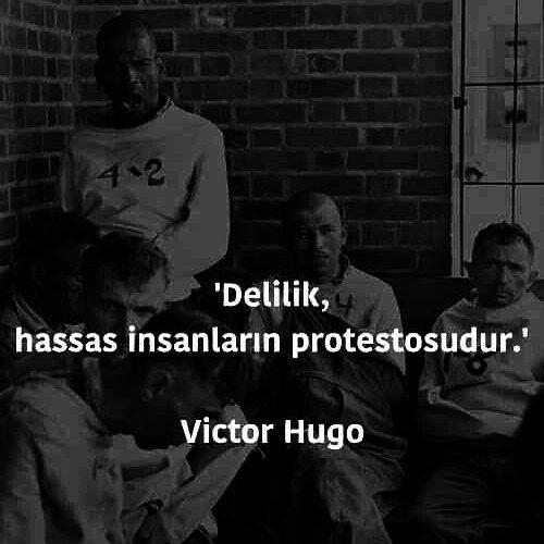Delilik, hassas insanların protestosudur. - Victor Hugo #sözler #anlamlısözler #güzelsözler #manalısözler #özlüsözler #alıntı #alıntılar #alıntıdır #alıntısözler #şiir #edebiyat