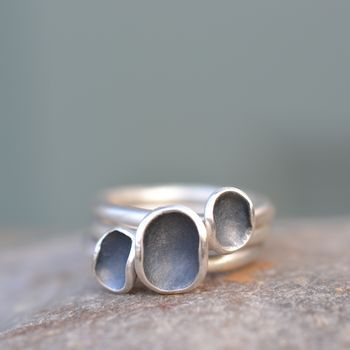 Three Handmade Silver Euphorbia Stacking Rings