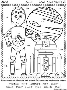 STAR WARS MATH: May The Facts Be With You ~ 6 Color By The Code Math Puzzle Printables! Use the children's love of Star Wars to practice basic addition and subtraction math facts as well as odd and even number recognition. This set now includes 6 puzzles and now each printable has the CCSS listed in the corner. ~ One Color By The Sum ~ One Color By The Difference ~ Three Color By The Sum and Difference ~ One Color By The Sum Odd or Even Set also includes 6 answer keys. $