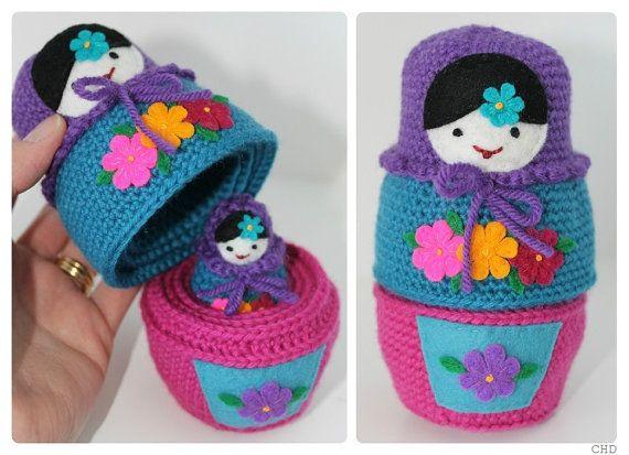 Russian Matryoshka Babushka Nesting Dolls Crochet by CHDshop $$
