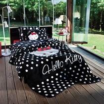 Evdenemoda.Com - SAB EV TEKSTİLİ - Hello Kitty Stylish Tek Kişilik İspanyol Battaniye ( Siyah )