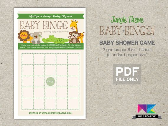 Personalized Baby Shower Game! Baby Bingo, Safari Theme   Fun, Beautiful U0026  Cheap