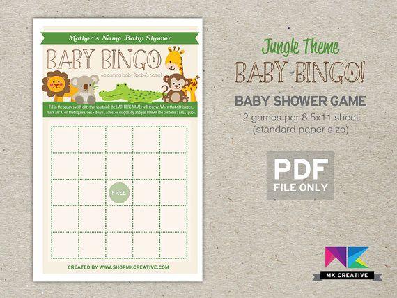 jungle safari themed baby bingo 8 games