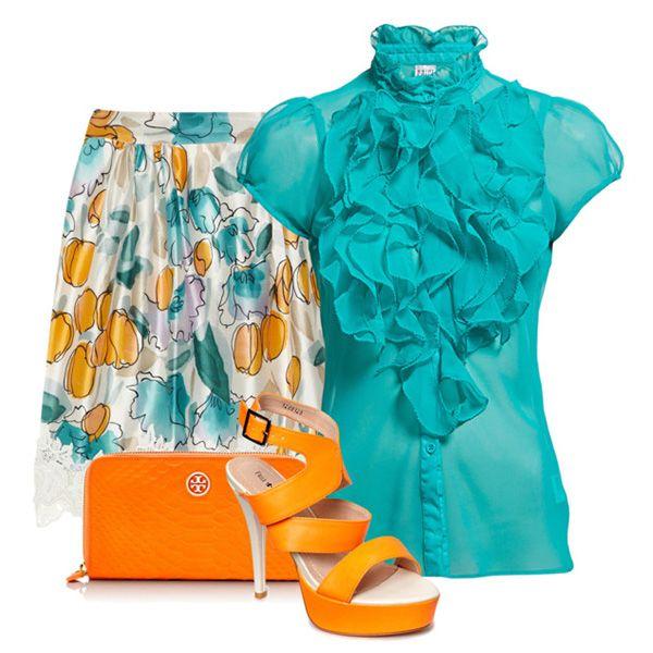 С чем носить оранжевые босоножки: бирюзовая блузка, белая юбка с принтом, оранжевый клатч